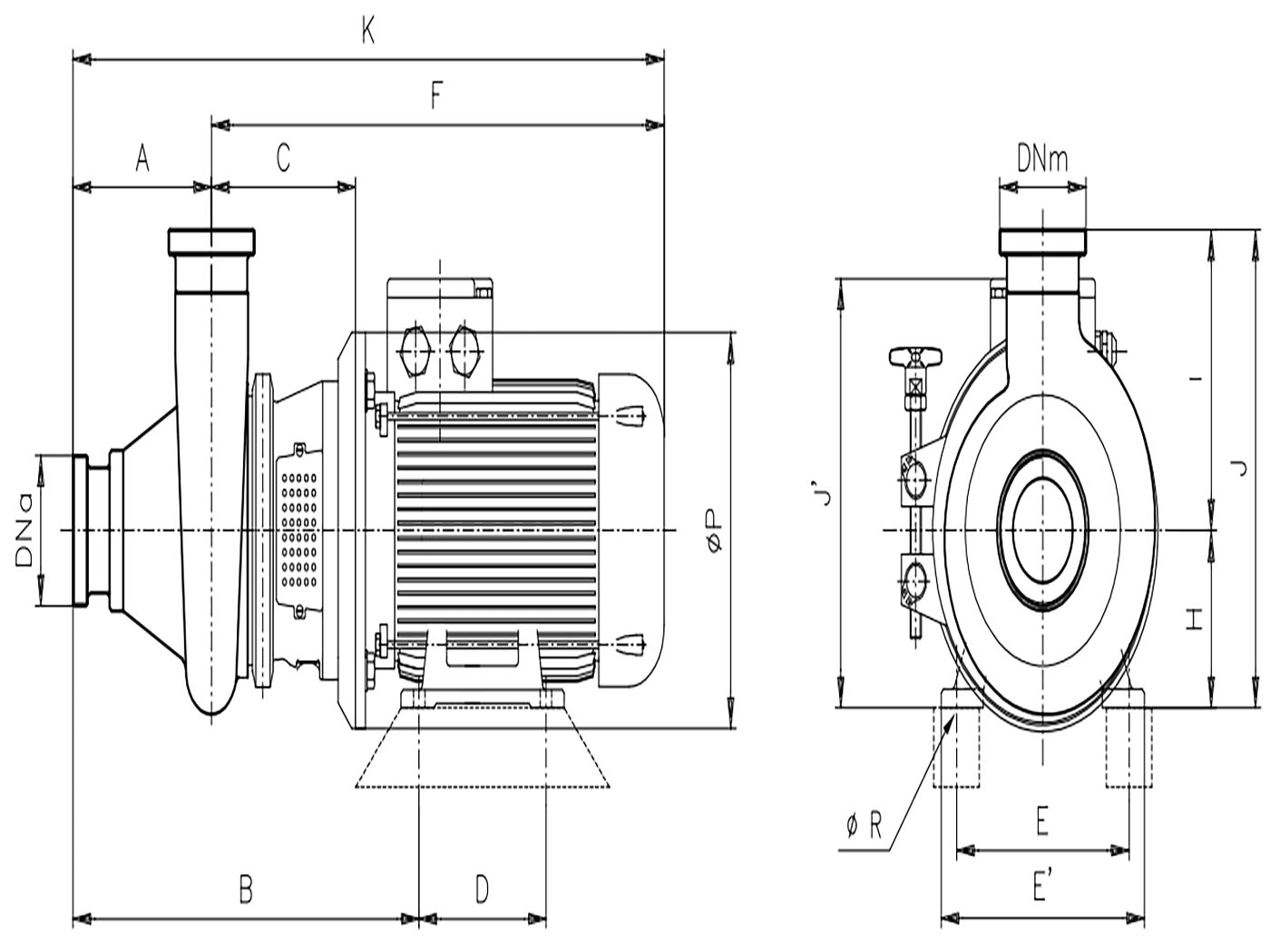 CR Centrifugal sanitary pump structure
