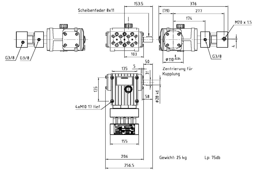 Máy bơm áp cao piston Triplex K100A KAMAT