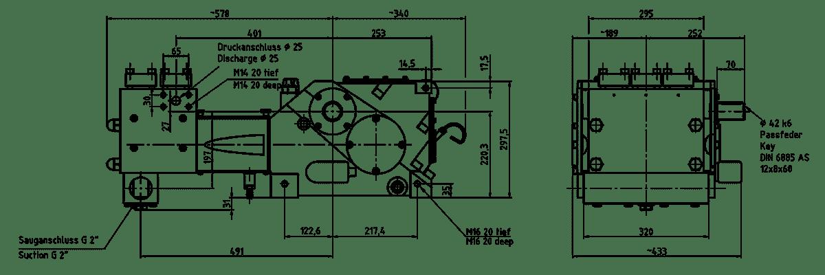 Cấu tạo bơm K 8000 3G Triplex lắp đầu bơm dạng MC