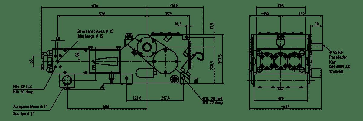 Cấu tạo bơm K 8000 3G Triplex lắp đầu bơm dạng A