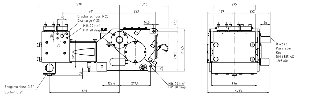 Cấu tạo bơm K 8000 3G Triplex lắp đầu bơm dạng MCH
