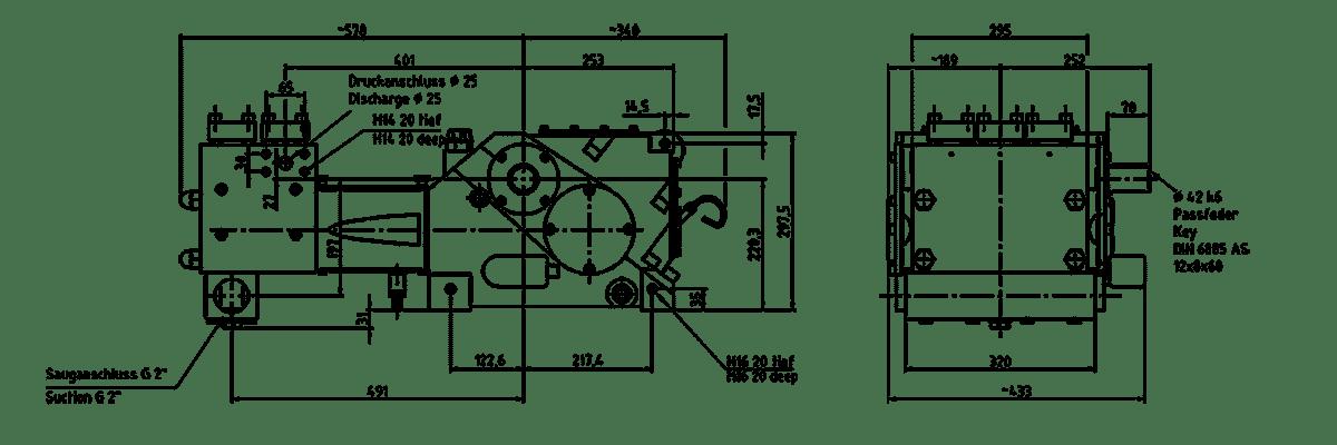 Cấu tạo bơm K 8000 3G Triplex lắp đầu bơm dạng M